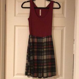 Dark red tanktop dress with plaid skirt